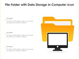 File Folder With Data Storage In Computer Icon