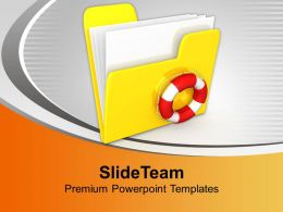 Files Folder Of Computer And Lifebuoy Security Powerpoint Templates Ppt Backgrounds For Slides 0113