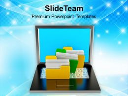 Files System With Laptop Technology Powerpoint Templates Ppt Themes And Graphics 0113