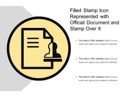Filled Stamp Icon Represented With Official Document And Stamp Over It