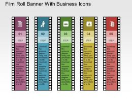 Film Roll Banner With Business Icons Flat Powerpoint Design