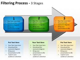filtering process 3 stages using arrows and text boxes inside showing flow powerpoint templates 0712
