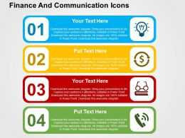 Finance And Communication Icons Flat Powerpoint Design