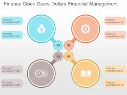 Finance Clock Gears Dollars Financial Management Flat Powerpoint Design