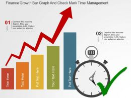 Finance Growth Bar Graph And Check Mark Time Management Flat Powerpoint Design