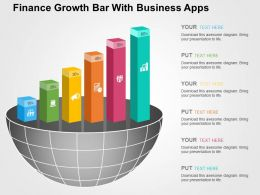 Finance Growth Bar With Business Apps Flat Powerpoint Design