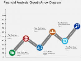 Financial Analysis Growth Arrow Diagram Flat Powerpoint Design