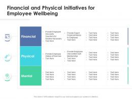 Financial And Physical Initiatives For Employee Wellbeing