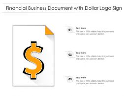 Financial Business Document With Dollar Logo Sign