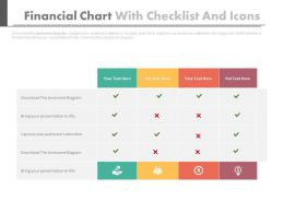 Financial Chart With Checklist And Icons Powerpoint Slides