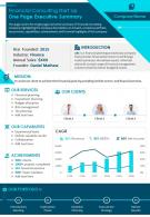 Financial Consulting Start Up One Page Executive Summary Presentation Report Infographic PPT PDF Document