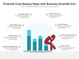 Financial Crisis Backup Steps With Business Downfall Icon