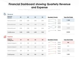 Financial Dashboard Showing Quarterly Revenue And Expense
