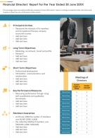 Financial Directors Report For The Year Ended 30 June 20XX Presentation Report Infographic PPT PDF Document