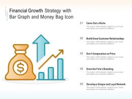 Financial Growth Strategy With Bar Graph And Money Bag Icon