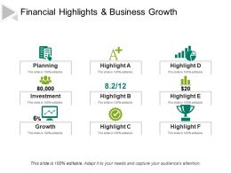 Financial Highlights And Business Growth Powerpoint Slide Show