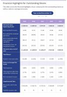 Financial Highlights For Outstanding Shares Template 23 Presentation Report Infographic PPT PDF Document