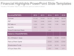 Financial Highlights Powerpoint Slide Templates