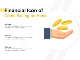 Financial Icon Of Coins Falling On Hand