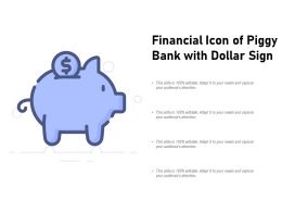 Financial Icon Of Piggy Bank With Dollar Sign