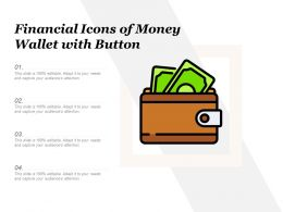 Financial Icons Of Money Wallet With Button