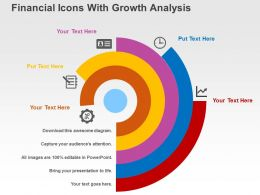 Financial Icons With Growth Analysis Flat Powerpoint Design