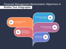 Financial Management Maximization Objectives In Bubble Text Infographic
