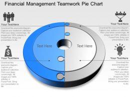 Financial Management Teamwork Pie Chart Powerpoint Template Slide
