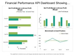 Financial Performance Kpi Dashboard Showing Benchmark Vs Cash Position
