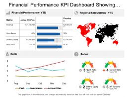 Financial Performance Kpi Dashboard Showing Regional Sales Status Cash And Ratios
