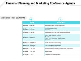 Financial Planning And Marketing Conference Agenda
