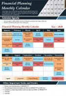 Financial Planning Monthly Calendar Presentation Report Infographic PPT PDF Document