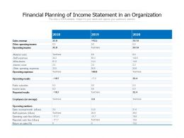 Financial Planning Of Income Statement In An Organization