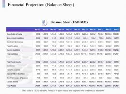 Financial Projection Balance Sheet Ppt Powerpoint Presentation Styles Clipart