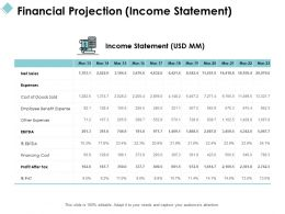 Financial Projection Income Statement Financing Ppt Powerpoint Presentation File Styles
