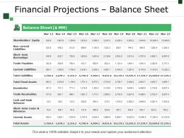 Financial Projections Balance Sheet Example Of Great Ppt