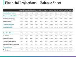 Financial Projections Balance Sheet Ppt Design
