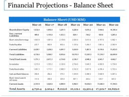 Financial Projections Balance Sheet Ppt Portfolio