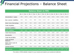 Financial Projections Balance Sheet Presentation Outline