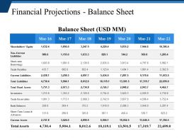 Financial Projections Balance Sheet Presentation Visuals