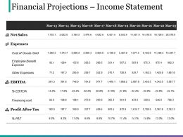 Financial Projections Income Statement Powerpoint Slide Presentation Guidelines