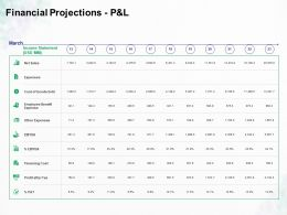 Financial Projections P And L Expenses Ppt Powerpoint Presentation Visual Aids Example 2015