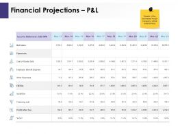 Financial Projections P And L Ppt Powerpoint Presentation Inspiration