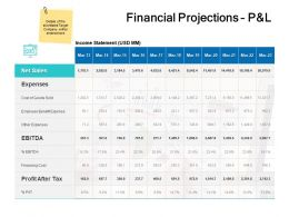 Financial Projections P And L Sales Ppt Powerpoint Presentation Aids