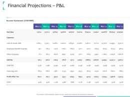Financial Projections P And L Sales Strategic Due Diligence Ppt Powerpoint Presentation Icon
