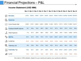 Financial Projections Pandl Ppt Images