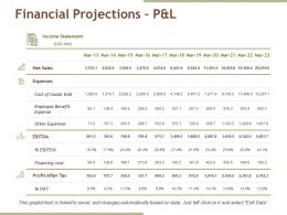 Financial Projections Pandl Ppt Slides