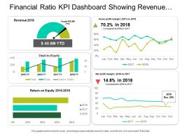 Financial Ratio Kpi Dashboard Showing Revenue Net Profit Margin And Debt To Equity