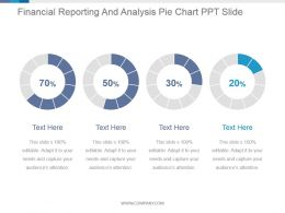 Financial Reporting And Analysis Pie Chart Ppt Slide
