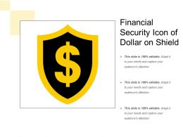 Financial Security Icon Of Dollar On Shield